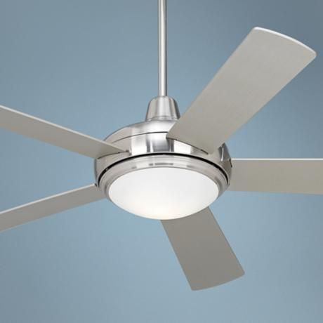 A clean modern fan, with a light unit 52″ Compass Brushed Nickel Ceiling Fan