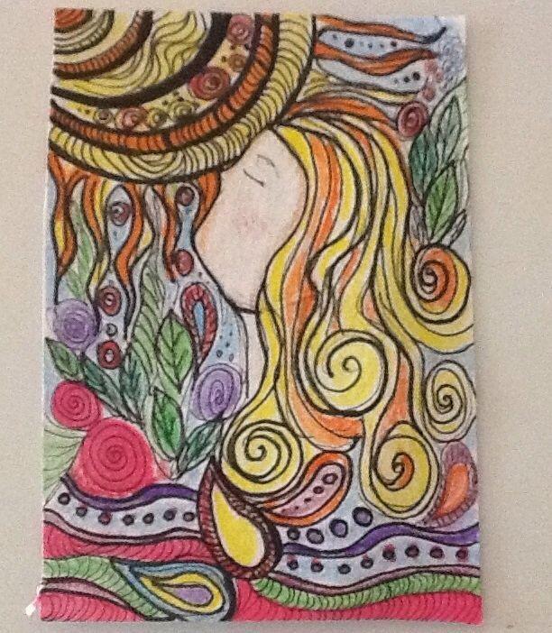 ACEO drawing portrait paper faerie zentangle summer SFA art card by jennizart Jennifer Wade