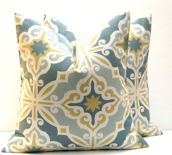 Decorative Pillow Covers. Gold Pillow. Grey Yellow Pillows. Blue Gold Pillow. Home Decor ONE 20x20pillow cover. Print Fabric both sides.