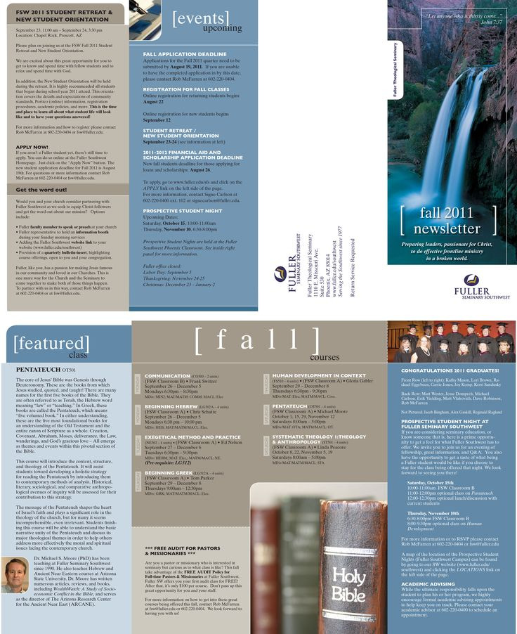 Fuller Seminary SW quarterly newsletter. Done as a brochure.
