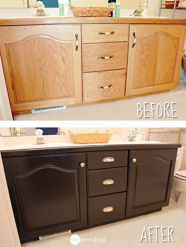 Give your bathroom vanity a facelift stains vanities and cabinets for How to stain a bathroom vanity
