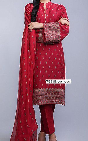 Maroon Cotton Karandi Suit | Buy Bareeze Pakistani Dresses and Clothing online in USA, UK