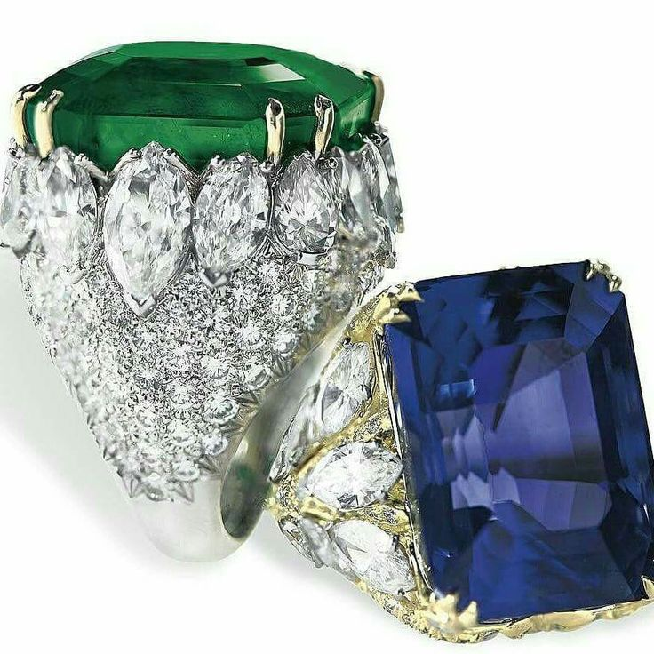 DAVID WEBB - A 47.72 carat untreated Colombian emerald and a 56.63 carat unheated Burmese sapphire rings with diamonds. Christie's Geneva (=)