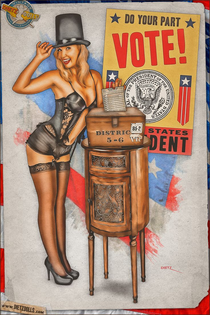 A special pinup for today... Election edition! Today's airbrushed style pinup photo features Melissa casting her vote for the 1948 presidential election. Republican or Democrat, voting can change the future of the country... even if you show up in lingerie! © Dietz Dolls Vintage Pinup Photography: http://www.dietzdolls.com || Facebook Fan Page: https://www.facebook.com/MomentsCapture