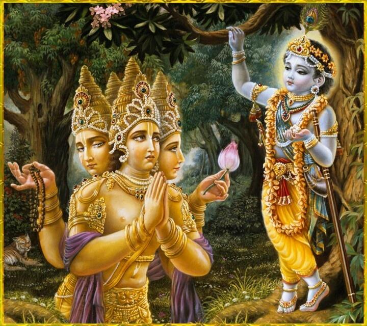 Brahma offers prayers to Lord Krishna