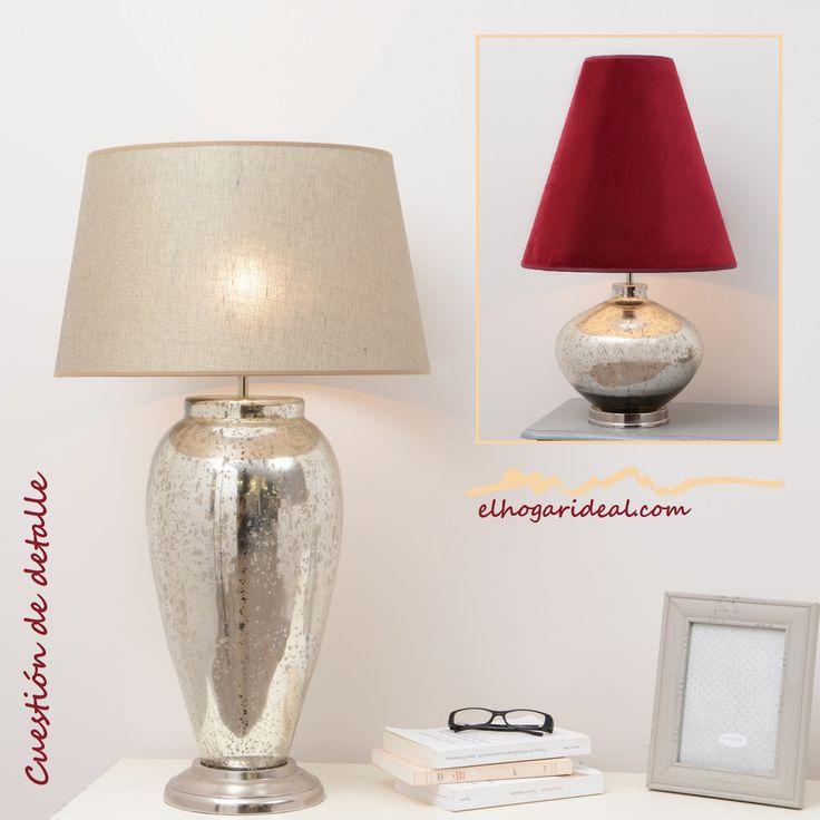 Voy a regalarme una lámpara de mesa. ¿Cuál te gusta más? Estas dos cuentan con un original pie de cristal tratado y sus tulipas, con diseños alternativos, van del lino en tono natural al terciopelo granate. http://elhogarideal.com/es/10-iluminacion