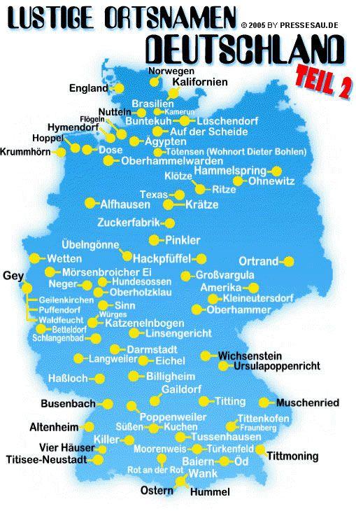 Lustige Ortsnamen in Deutschland - Teil 2 (z.B. Wetten, Pinkler, Titting, Langweiler, Texas)