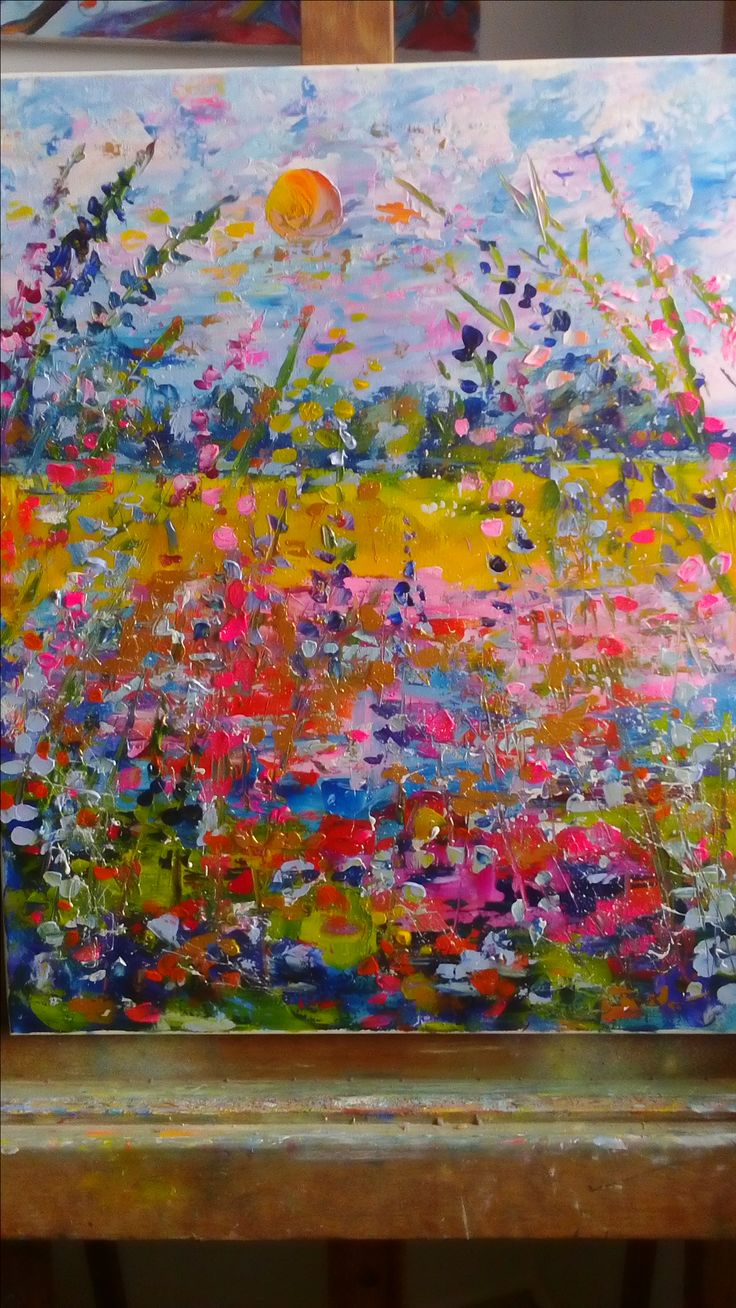 meadow flowers  summer  Acrylic painting