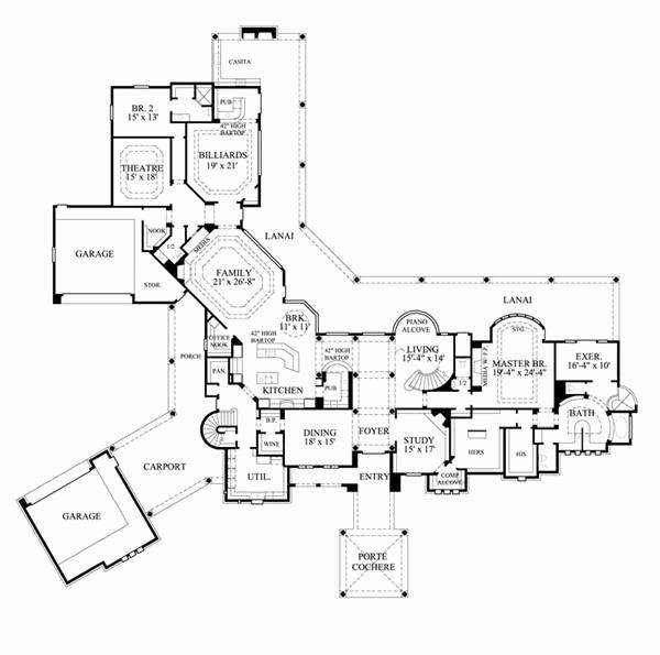 Single Story House Plans With Porte Cochere Best Of Mediterranean House Plans Mediterranean Style House Plans Mediterranean House Plans Luxury House Plans