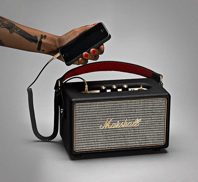 Marshall Kilburn Bluetooth Speaker - An on-the-go speaker that looks just like those iconic Marshall amp that's been a staple in the world of rock and roll for decades, this Bluetooth speaker delivers great concert sound that's portable.