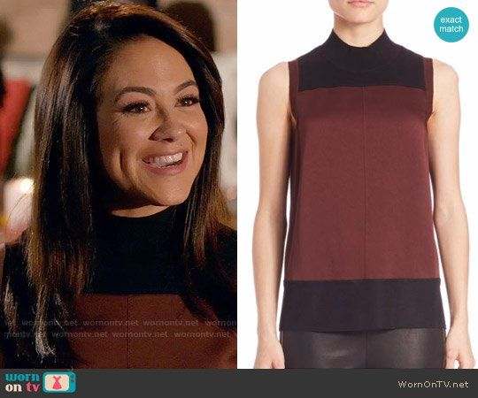 Nina's burgundy sleeveless top with black panel on Daytime Divas.  Outfit Details: https://wornontv.net/74400/ #DaytimeDivas