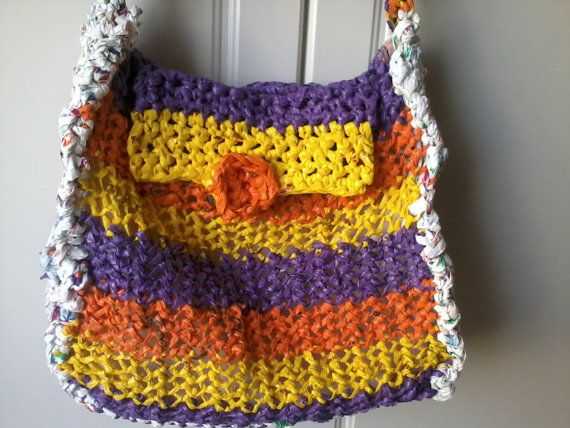 large plastic crocheted bag with beautiful colors and a lot of space