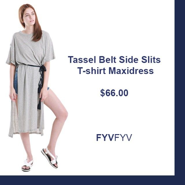 @fyvfyv Tassel belt side slit t-shirt maxidress at FYVFYV.com #ootd #fashion #daily #fashionhaul  #dress #slitdress #tassel #followme #fyvfyv