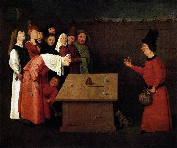 Hieronymus Bosch, El Prestidigitador, hacia 1502 o posterior. Óleo sobre tabla, 53x65 cm. Saint Germain en Laye, Musée Municipal.