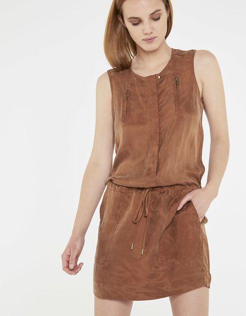 Ongebruikt IKKS Bruine jurk in cupro (BL31195-65). Shop nu en ontdek de NM-55
