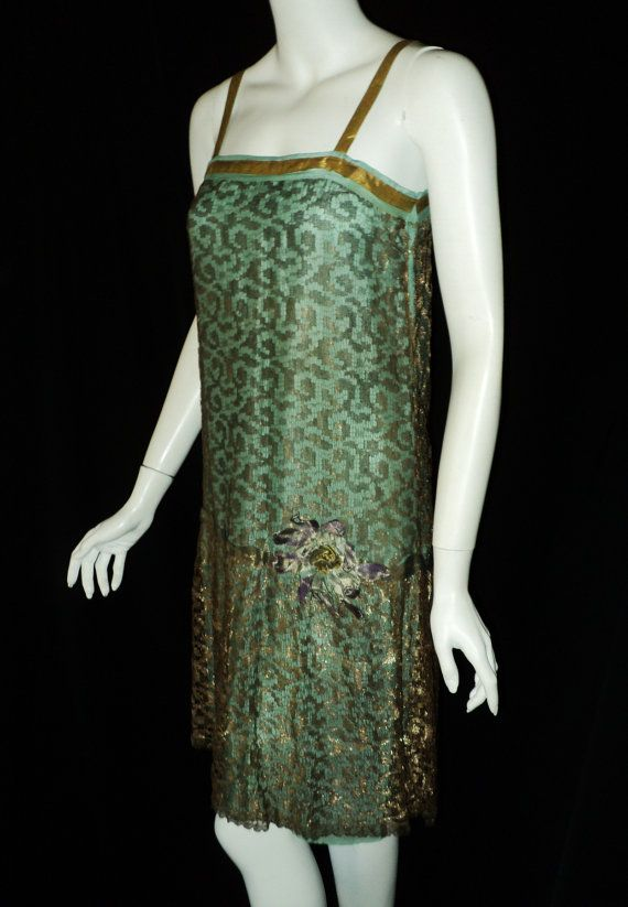 Flapper Party Dress Gatsby 1920s Nile Green with Metallic Lace and Lame Flower Original Period $575.00 USD - Materials: antique silk, lame, metallic lace, handmade ribbonwork
