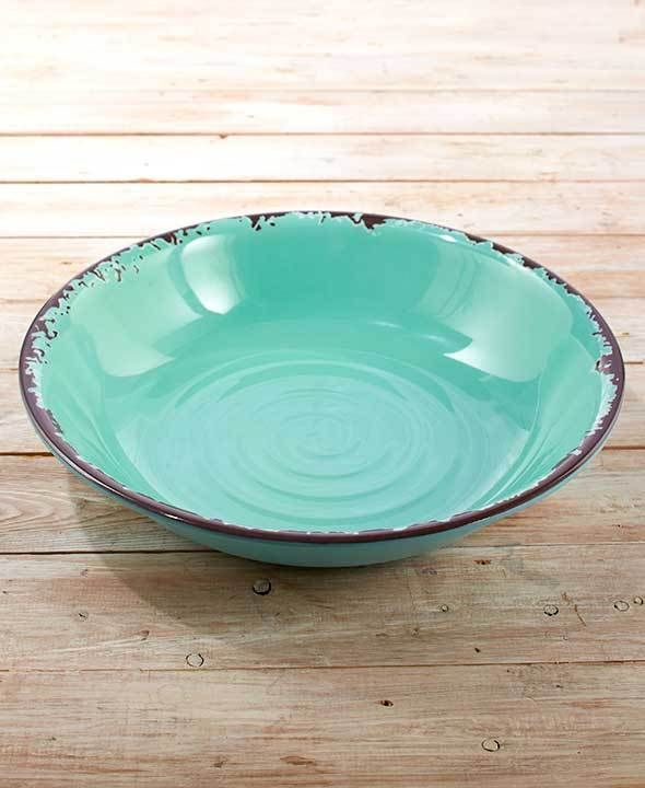 New Rustic Melamine Dinnerware Oversized Serving Bowl Melon Plum & Blue Qty 3 #Unbranded