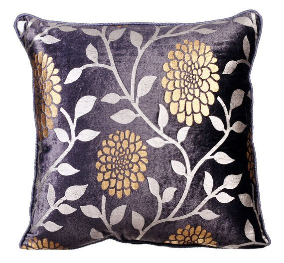 Vineyard Dahlias - 16x16 Inches Plum Velvet with Gold & Silver Print Throw Pillows.