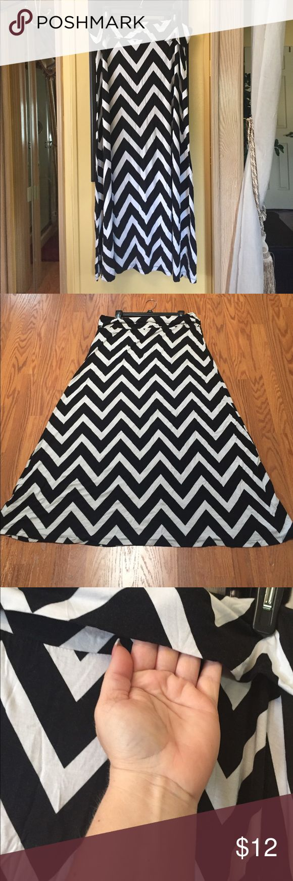 Chevron Fold Over Waistband Maxi Skirt Colors are black and white French Laundry Skirts Maxi