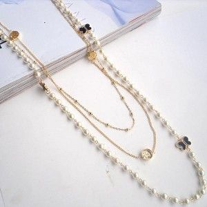 Multi-Layers Pearl Butterfly Long Chain Necklace