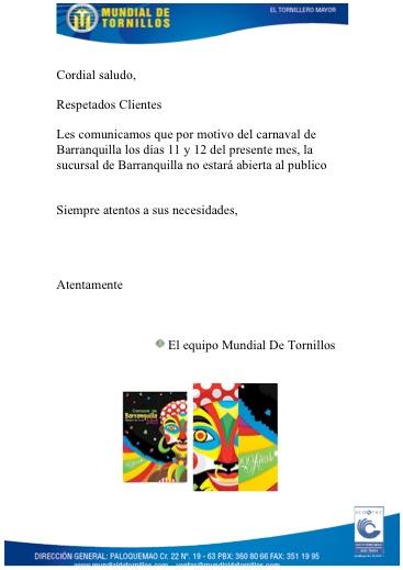 Barranquilla: Este 11 y 12 de Febrero cerrado por Carnavales!