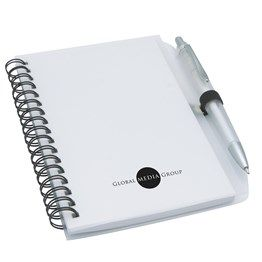 This funky spiral notepad and matching pen is great for use at conferences and meetings. Featuring a handy pen holder and available in translucent blue, red and clear. http://catalogue.davarni.com.au/Products/Search/Products?textSearch=&category=12151&=&startRow=50&maxRows=50