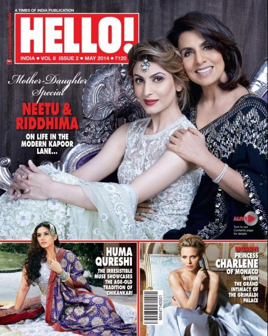 Neetu Singh Kapoor and Riddhima on the cover of HELLO! May 2014. #Style #Bollywood #Fashion #Beauty