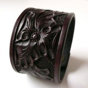 Chocolate Wild Rose Floral Leather Cuff, by Ray Holmes. He's on Etsy with his Custom Leather Shop