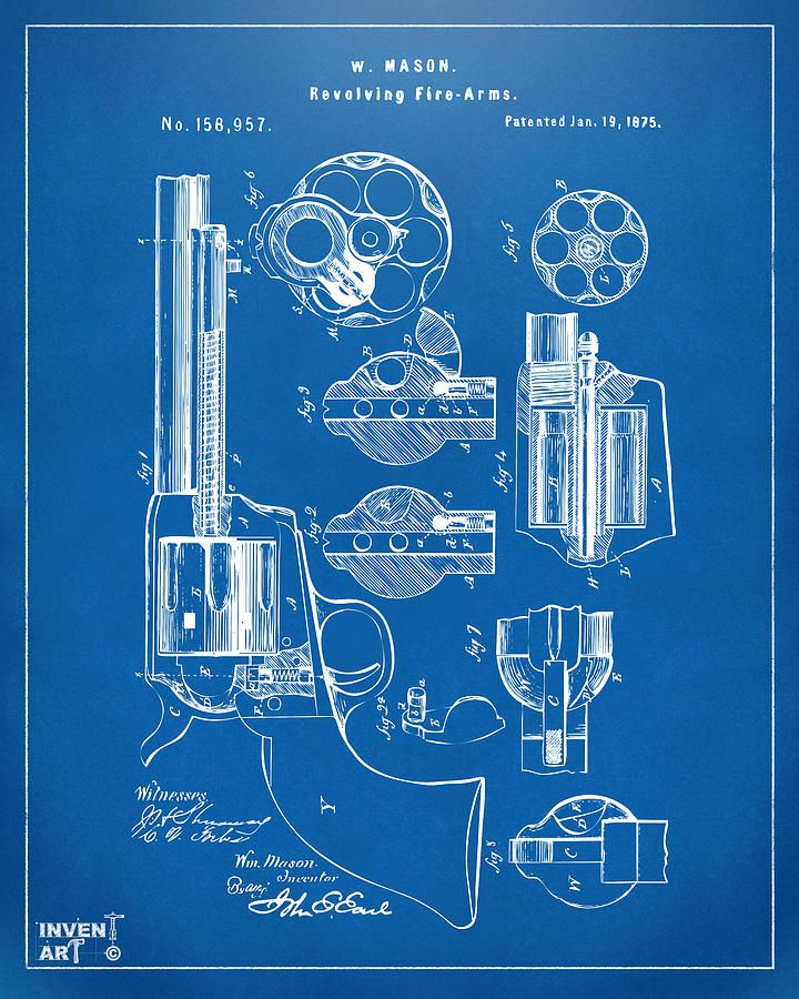 1875 Colt Peacemaker Revolver Patent Blueprint Drawing