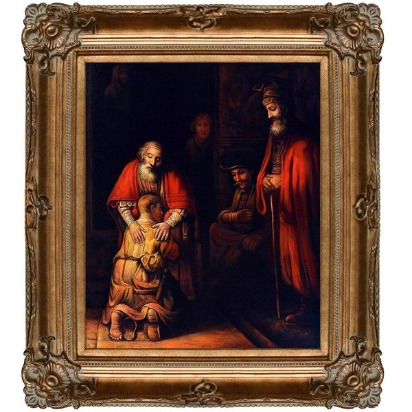 La Pastiche Rembrandt Return of the Prodigal Son Hand Painted Framed... ($359) ❤ liked on Polyvore featuring home, home decor, wall art, bronze, canvas oil paintings, framed canvas wall art, oil painting, rembrandt van rijn paintings and outdoor wall art