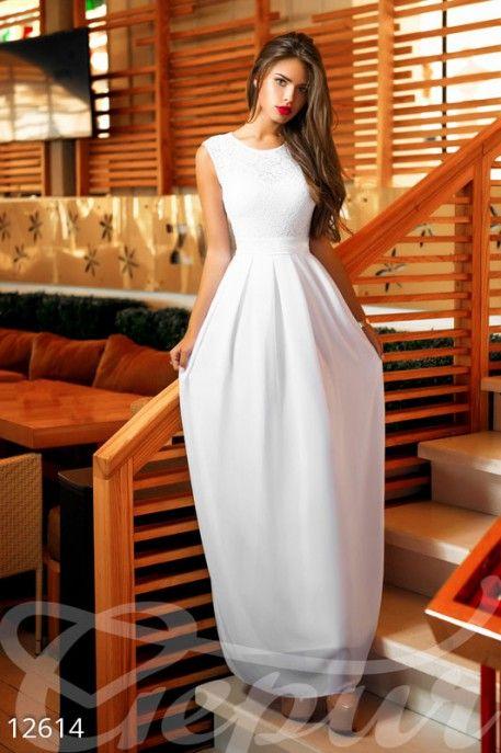 Белое длинное платье 12614 фото 1