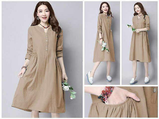 Beli Baju Atasan Denim Tunik (Midi Dress) Unik - http://www.butikjingga.com/baju-atasan-denim-tunik-midi-dress