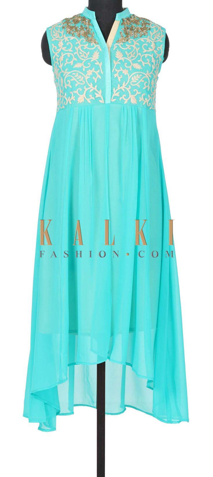 Turq green kurti adorn in thread and zari embroidery only on Kalki