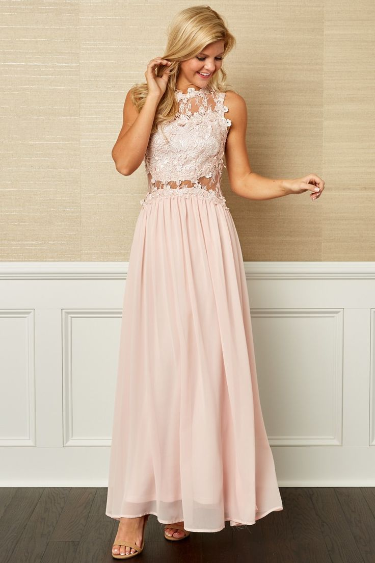 Elegance Of Beauty Blush Pink Lace Maxi Dress at reddressboutique.com