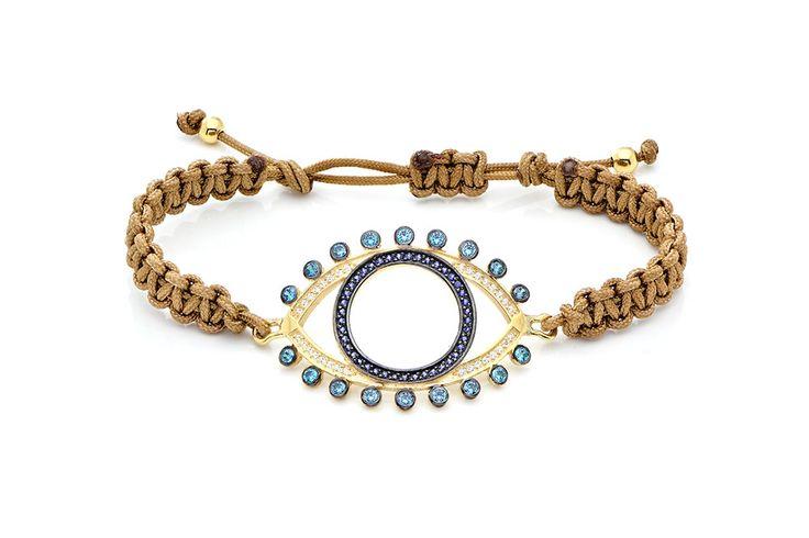 Βραχιόλι πλεκτό με λευκά, μπλε και γαλάζια cz από κίτρινο επιχρυσωμένο ασήμι 925. Knitted bracelet with white, blue and light blue cz made by yellow gold-plated 925. Price : 170 €