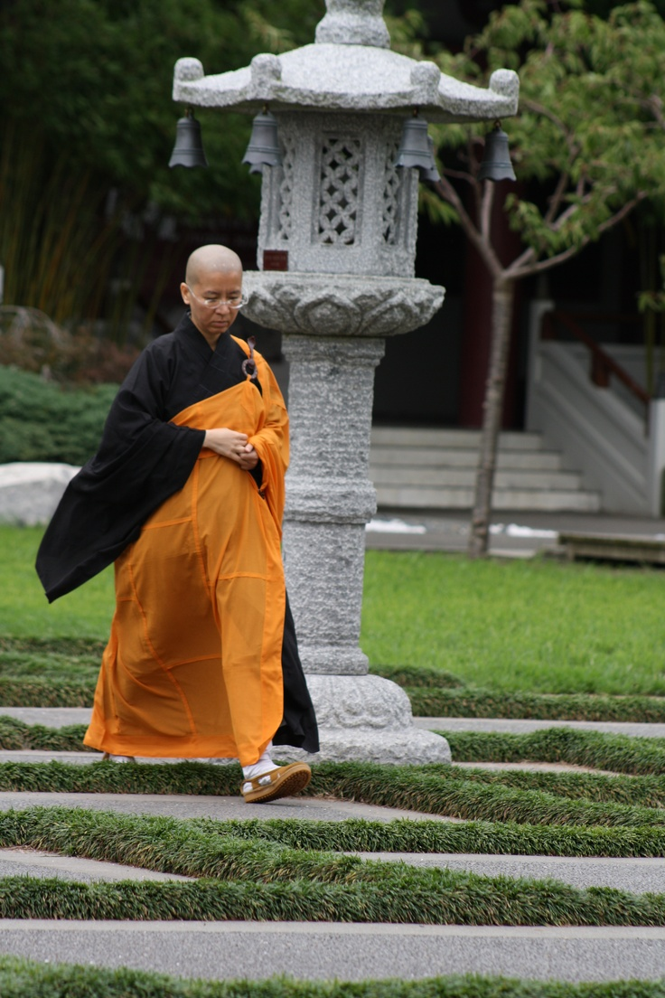 A Buddhist Monk at the Fo Guang Shan Buddhist Temple, Auckland.