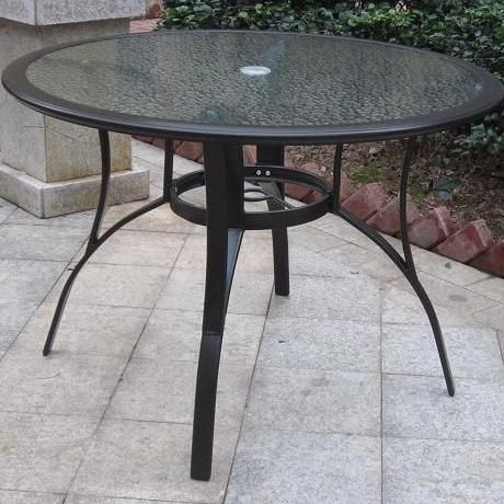 Round Aluminum Dining Table With Glass Top (seats 4). Patio TablesDining  Tables