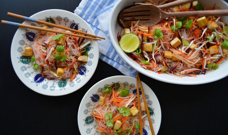 Asian-style rice noodle salad with sweet chilli