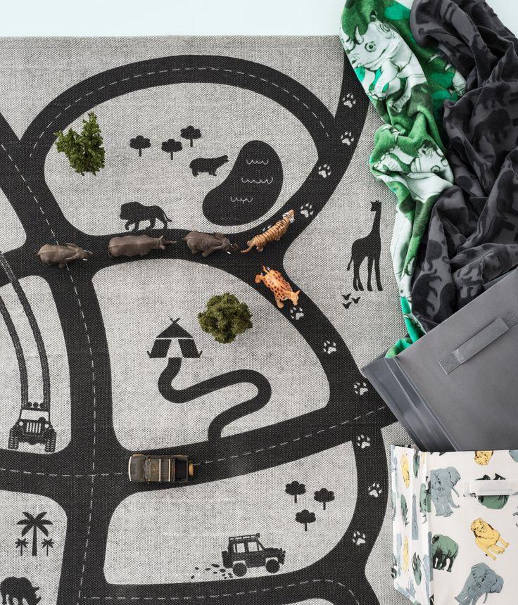 Een katoenen vloerkleed met een geprint motief | H&M home
