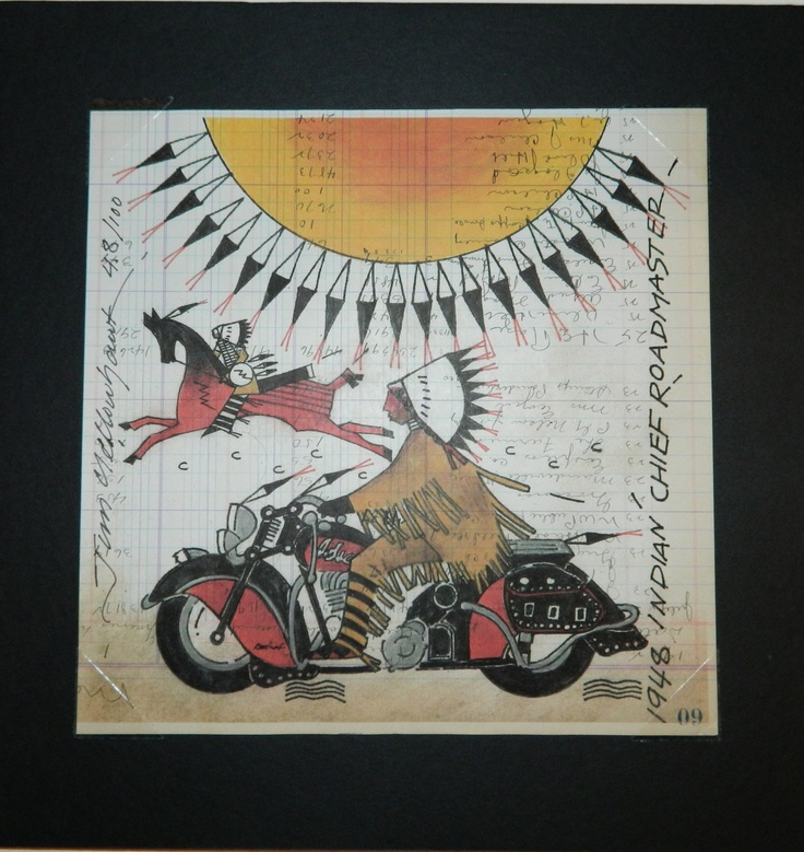 1984 Indian Chief Road Master (print)  By Jim Yellowhawk  $60 NZD  se more of his work here  http://coolstoregallery.co.nz/JimYellowhawk.htm