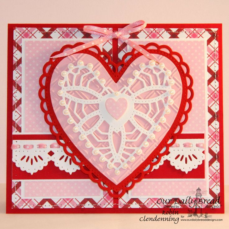 ODBDSLC188 Pink, Red or White Color Challenge Stamps - Our Daily Bread Designs Custom Ornate Hearts Die, ODBD Custom Beautiful Borders Dies