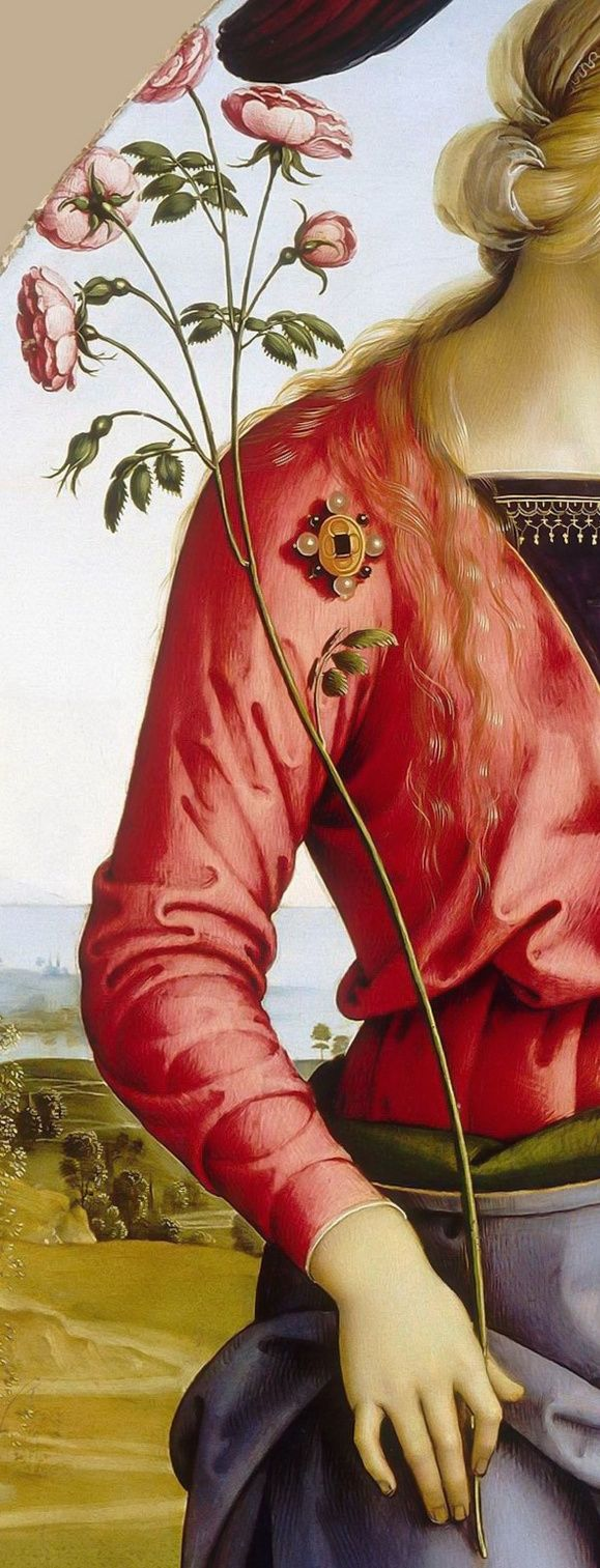 Detail, Attributed to Perugino -- Virgin and Child accompanied by two angels, Saint Rose and Saint Catherine of Alexandria: