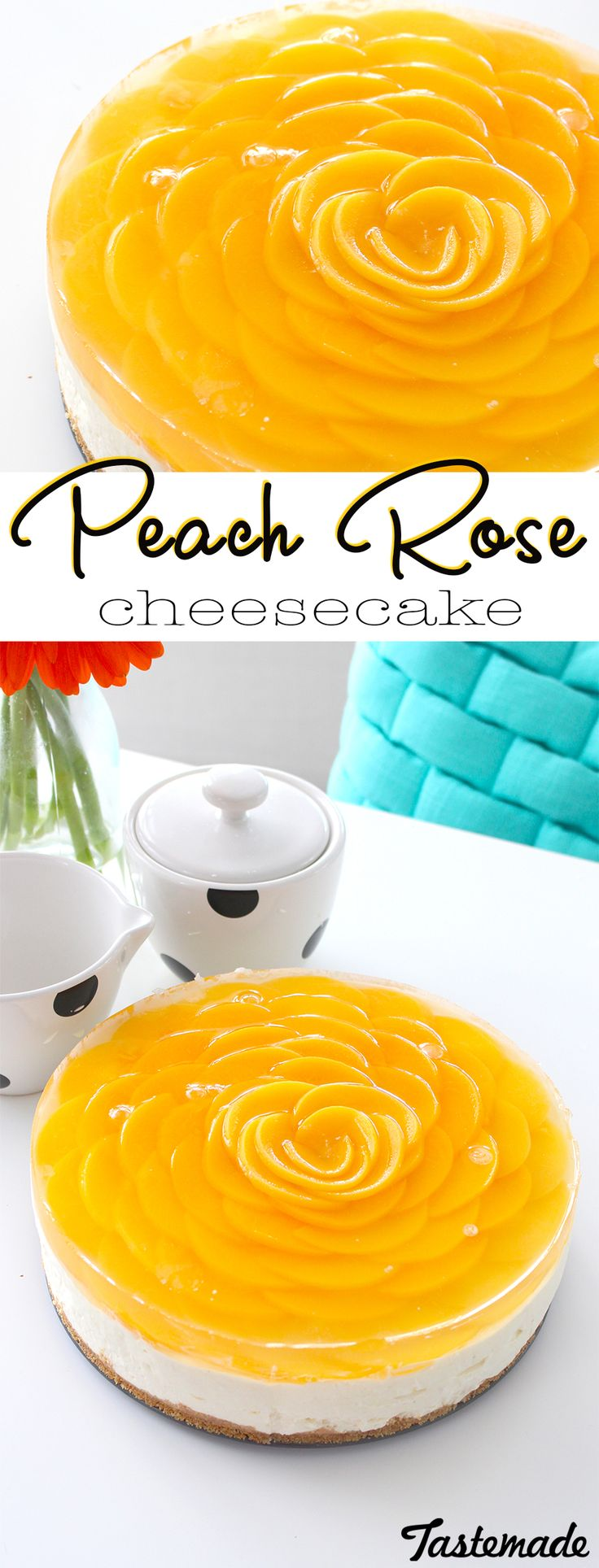 Peach slices are arranged on top of this no-bake cheesecake to look like a beautiful flower!