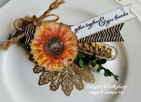 Treat Tube table setting for Autumn. Stamp Review Crew: Painted Harvest! Inker's Workshop 2017