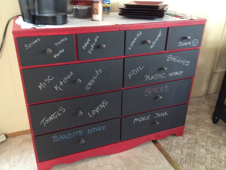 An old dresser repurposed - painted the dresser red and the drawers with chalkboard paint then added new knobs. Now we write on the drawer what's in it.
