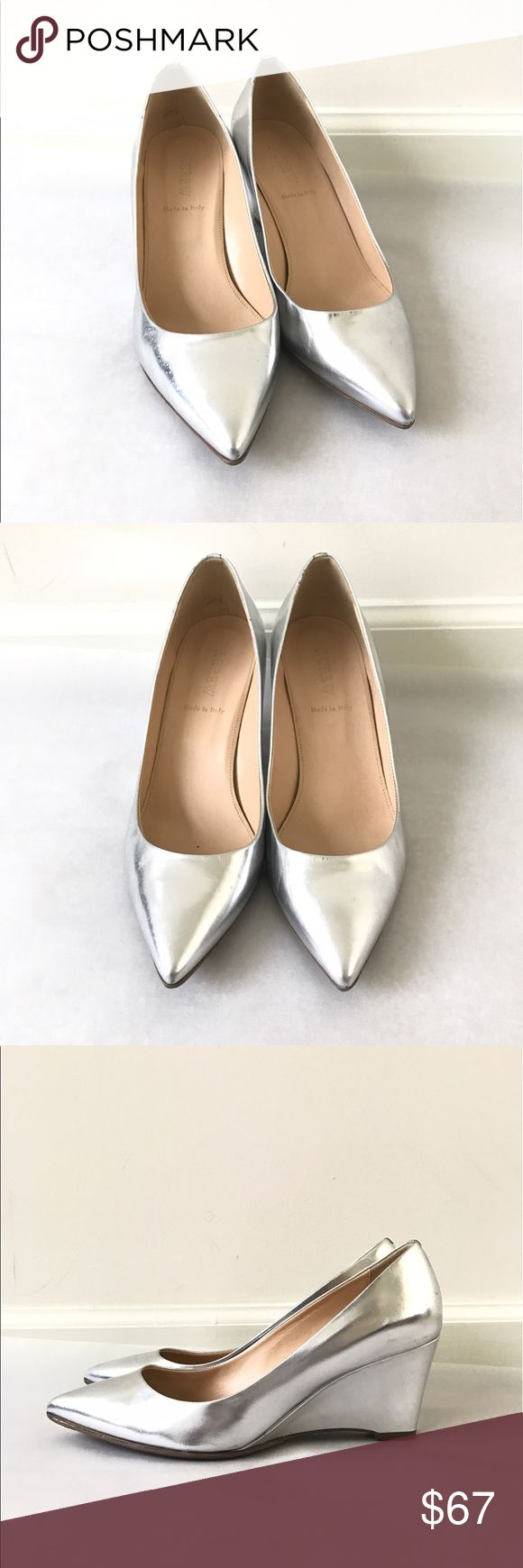 J. Crew Metallic Silver Wedge Pumps Made In Italy Gently worn , shows some wear in the heel parts but overall in good condition. Size 8.5 M . Made in Italy. Metallic Silver color. Resoled. J. Crew Shoes Wedges
