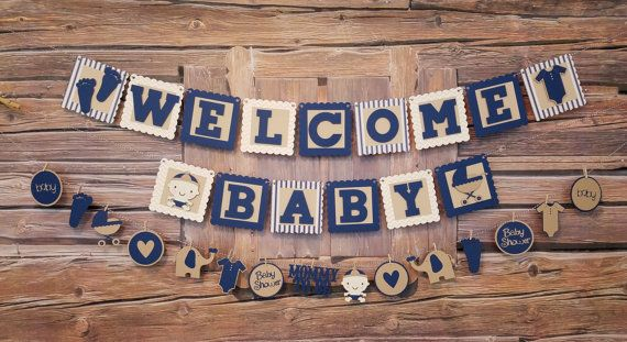 Welcome Baby Banner and Garland Welcome Baby Sign by HappyBanners