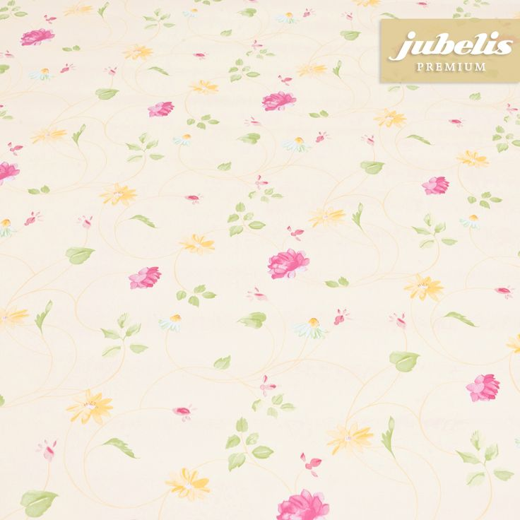 jubelis® Premium-Tischbelag abwaschbar Wachstuch Meterware auf Rolle Eva beige mit Streublümchen pink und gelb