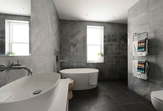 Dark Floors White Cabinets Free Standing Bath Ios Bath Features On The Block All Stars Luxe By Design Bathroom Inspiration Pinterest The Block