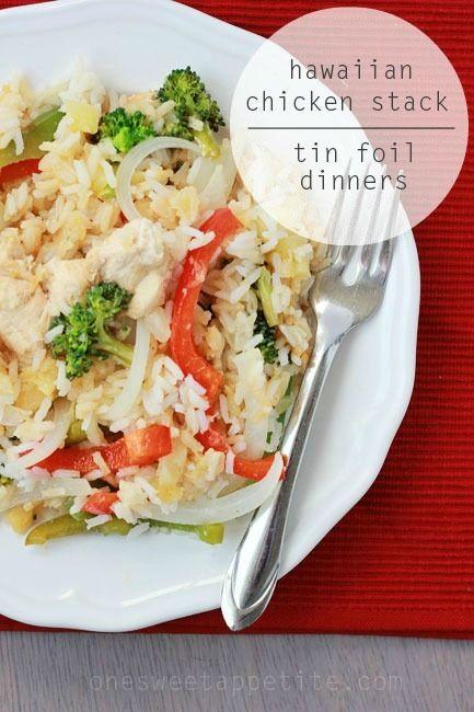 Hawaiian Chicken Stack Tin Foil Dinner